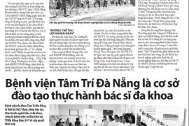 """Báo Thanh Niên sáng nay có đăng bài: """"Bệnh viện Tâm Trí Đà Nẵng là cơ sở đào tạo thực hành bác sĩ đa khoa"""""""